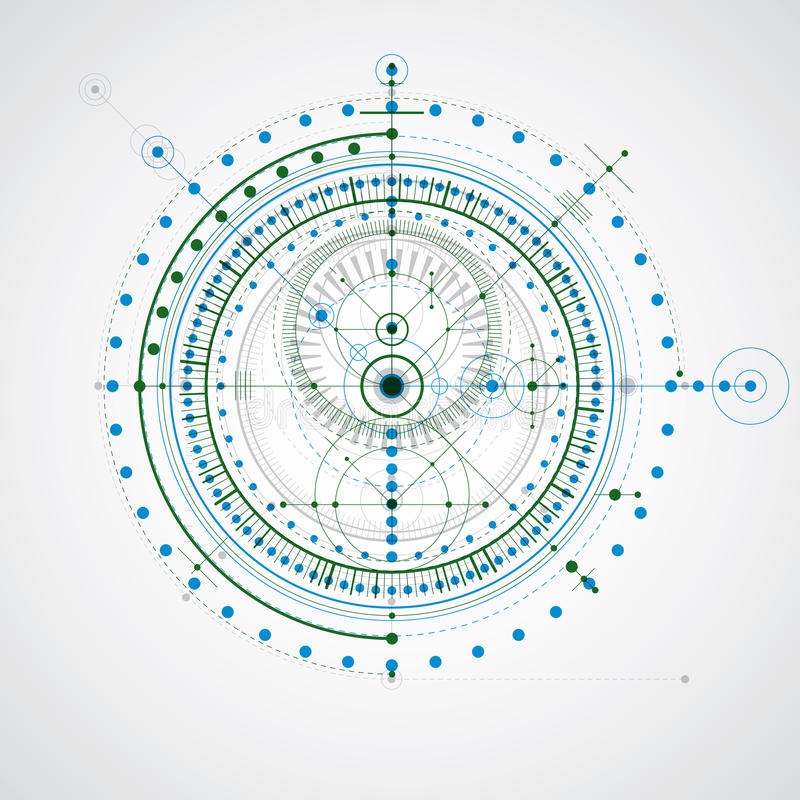 Geometrisk teknologivektorteckning, teknisk tapet Abstra vektor illustrationer