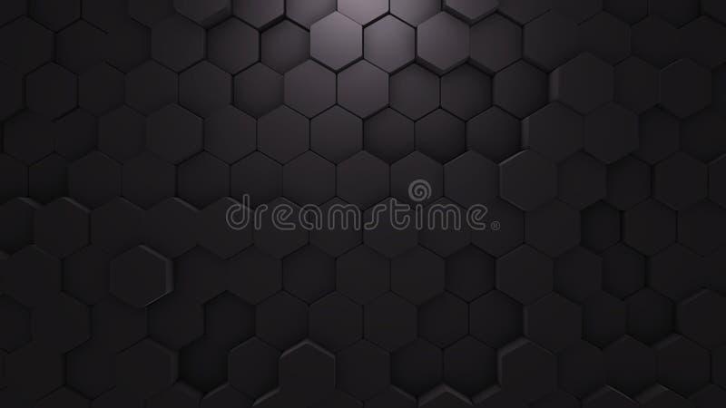 Geometrisk textur för abstrakt sexhörning Svart ytbehandlar illustrationen Mörk sexhörnig bakgrund för rastermodell, på måfå våg  vektor illustrationer