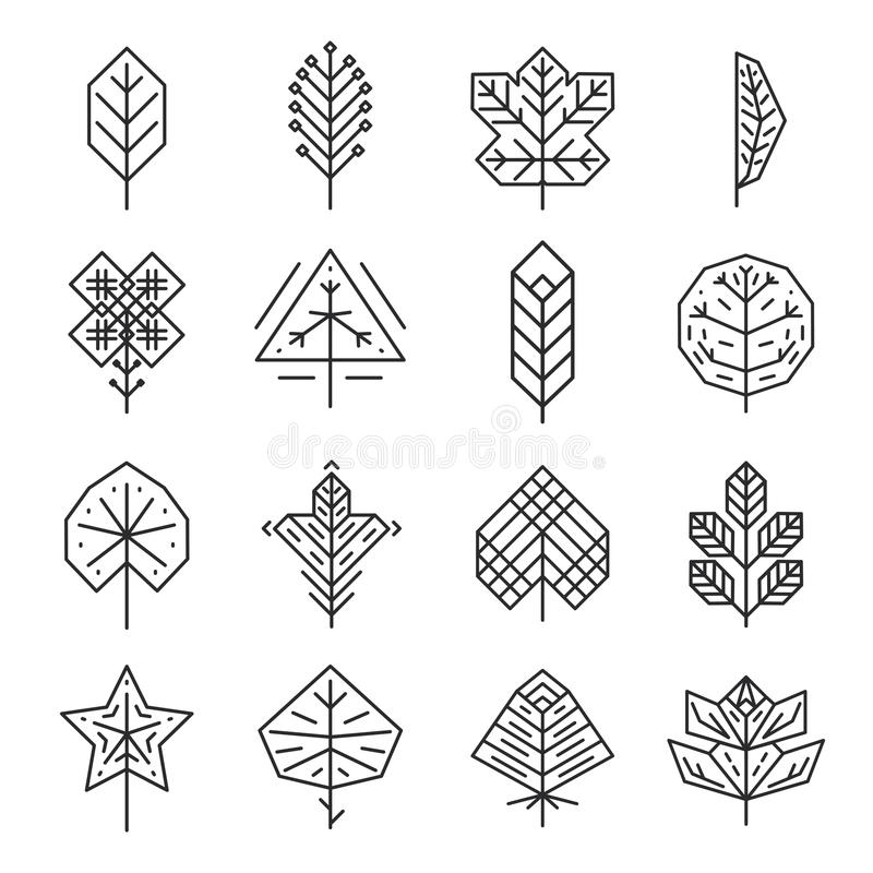 Geometrisk tunn linje sidor för Hipster för logoer och royaltyfri illustrationer
