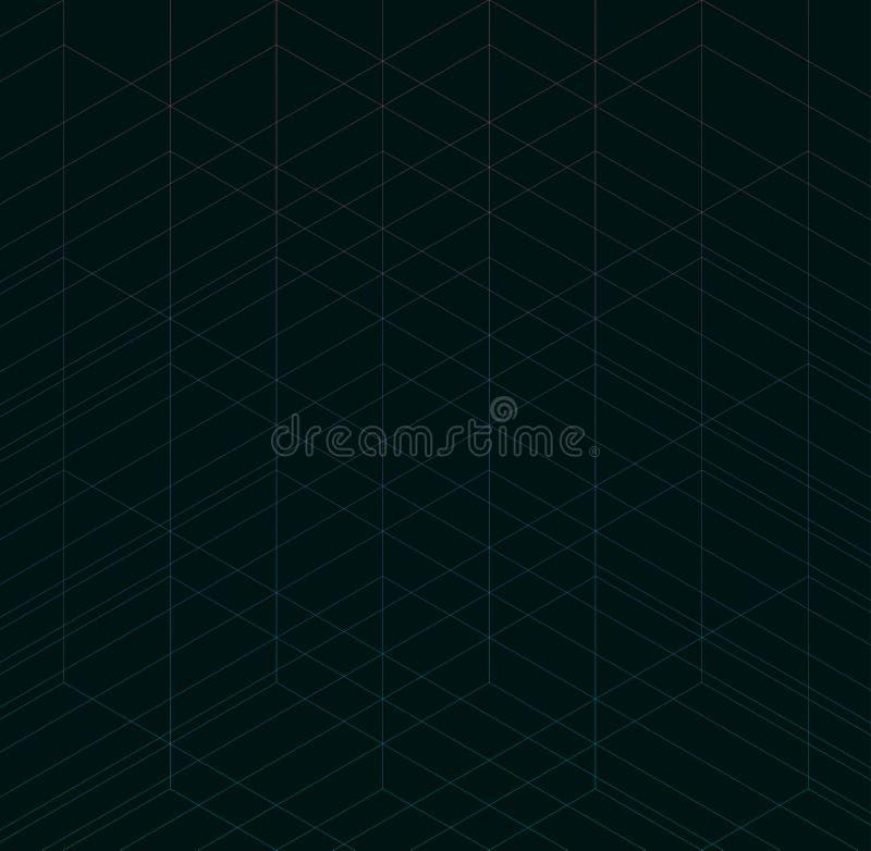 Geometrisk tunn linje svartbakgrund Enkelt grafiskt tryck Modern minimalistic spaljé för vektor Moderiktig hipsterdesign för kaot stock illustrationer