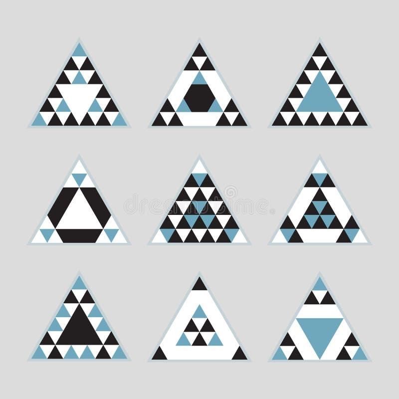 Geometrisk uppsättning för symboler för liksidiga trianglar för blåtttegelplatta vektor illustrationer