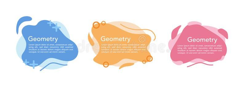 Geometrisk vätskefärgrik abstrakt formuppsättning Isolerad vit bakgrund för modern design royaltyfri illustrationer