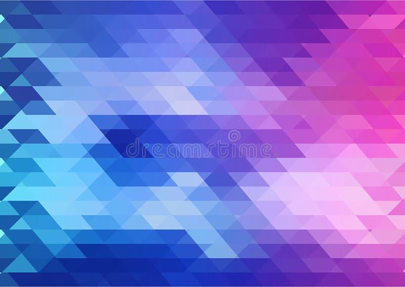 Geometrisk vektorbakgrund i blåa rosa färger och lilor färgar vektor illustrationer