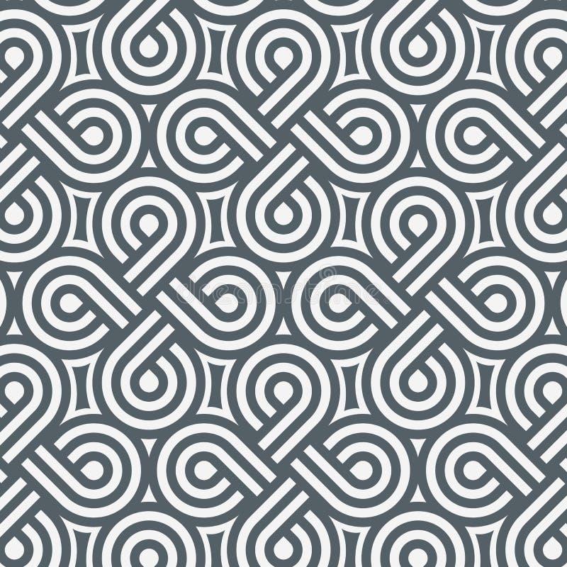 Geometrisk vektormodell som upprepar bandlinjen spolar på cirkelform som kors- och abstrakt begreppstjärnan ren design för tapet royaltyfri illustrationer
