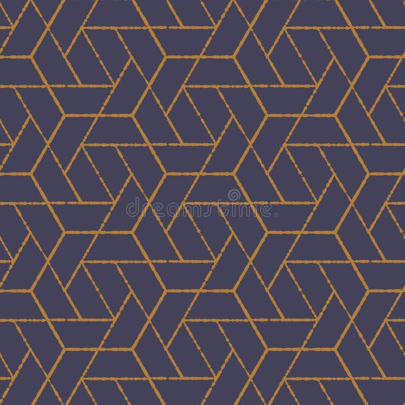 Geometrisk vektormodell som upprepar grungelinjen av sexhörningen stock illustrationer