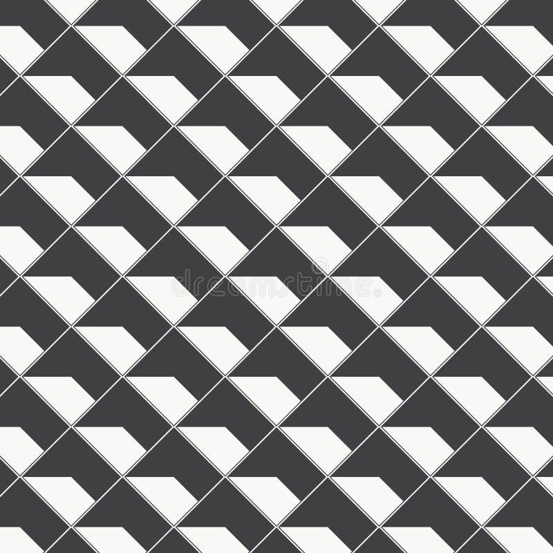 Geometrisk vektormodell som upprepar textur av fyrkantig diamantform med abstrakt skugga, enkel f?rg med svartvitt stock illustrationer