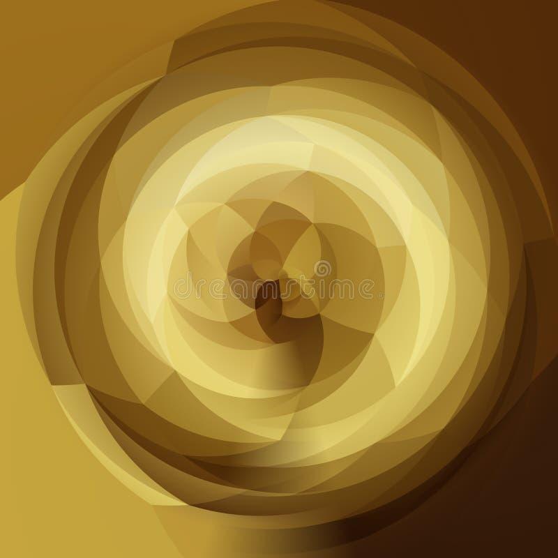 Geometrisk virvelbakgrund för abstrakt konst - guldguling, beiga och mörk brunt färgade royaltyfri illustrationer