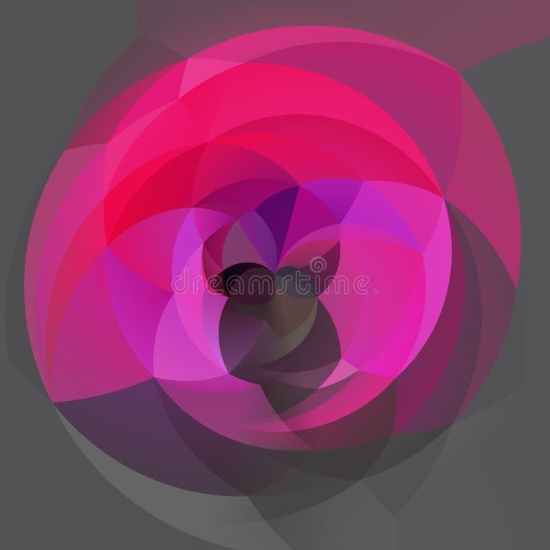 Geometrisk virvelbakgrund för modern konst - varma rosa färger som var magentafärgade, fuchsia, steg, lilor och färgade medelgrå  stock illustrationer