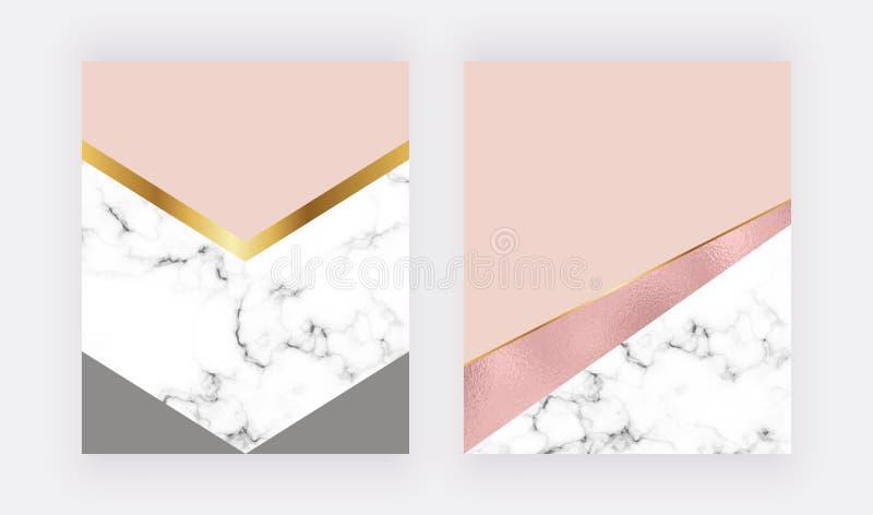 Geometriska bakgrunder för mode med rosa guld- folie- och marmortextur Modern design för beröm, reklamblad, socialt massmedia, ba royaltyfri illustrationer