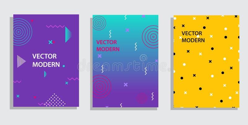 Geometriska beståndsdelar och former för vektordiagram för modern konst Räkningar för plakatet, affisch, tidskrift, broschyr royaltyfri illustrationer