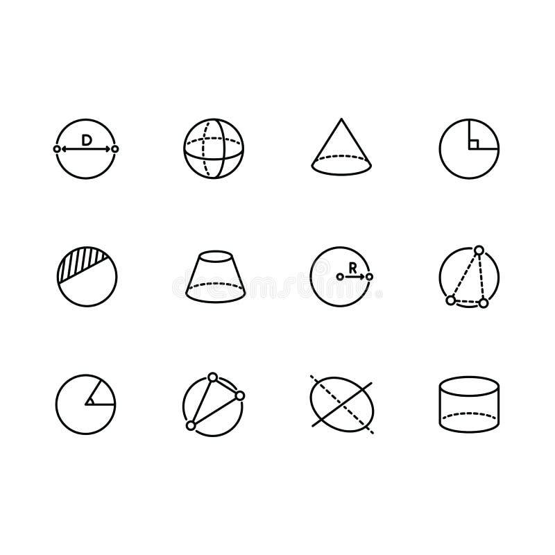Geometriska diagram illustrationlinje symbol för enkel uppsättning Innehåller sådan symbolscirkel, sfären, cylindern, kotten, pyr stock illustrationer