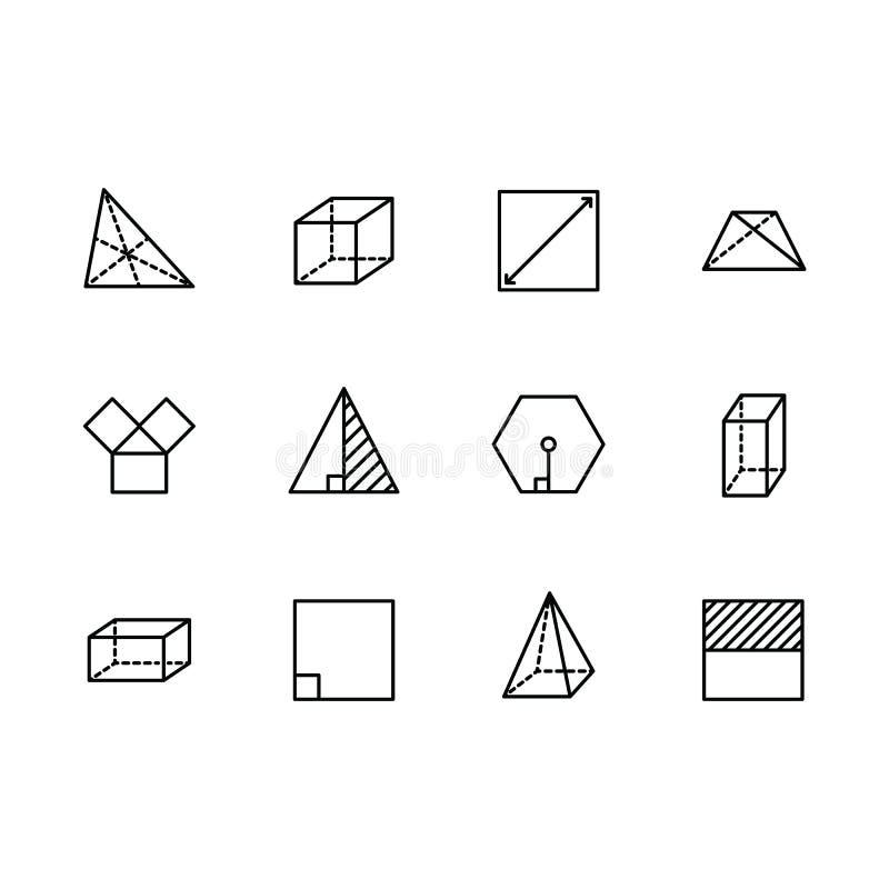Geometriska diagram vektorlinje symbol för enkel uppsättning Innehåller sådan fyrkant, kuben, rektangeln, sexhörningen, triangeln vektor illustrationer