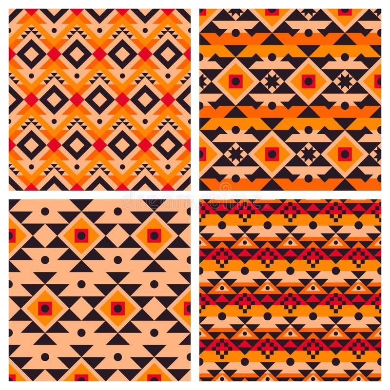 Geometriska etniska aztec mexikanska sömlösa modeller royaltyfri illustrationer