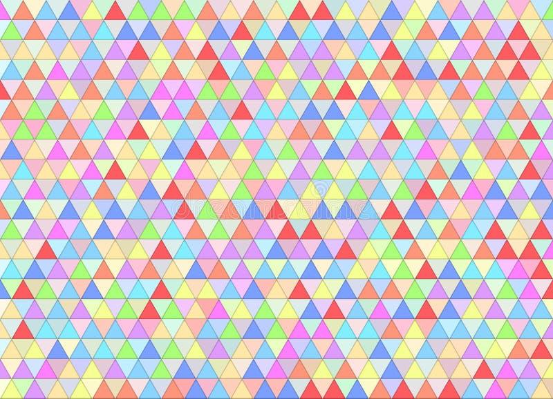 Geometriska färgrika trianglar mönstrar bakgrund med mosaisk effekt stock illustrationer