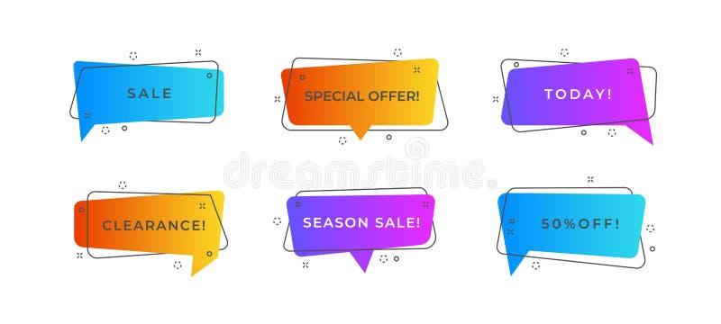 Geometriska försäljningsbubblor Abstrakta befordranbaner, moderna rabattreklamblad, moderiktig retro affischdesign Plan försäljni vektor illustrationer