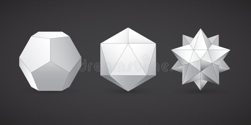 Geometriska former, dodecahedron, vektor vektor illustrationer