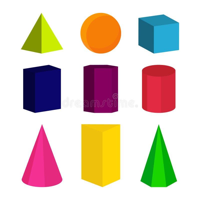 Geometriska former för färg vektor illustrationer