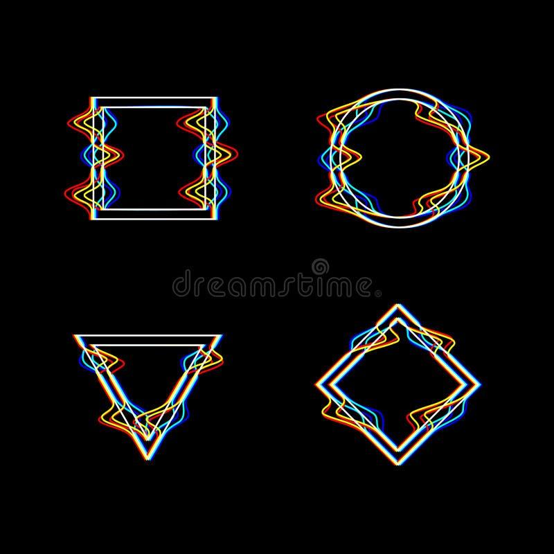 Geometriska former för tekniskt fel - fyrkant, triangel, romb och cirkel Gula, röda och blåa kanaler Redigerbar slagl?ngd stock illustrationer