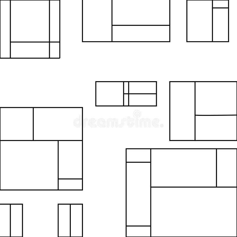 Geometriska former i översiktsorienteringsmodell isolerade Olika format av vitt tegelplattabildande som skapar en annan större stock illustrationer