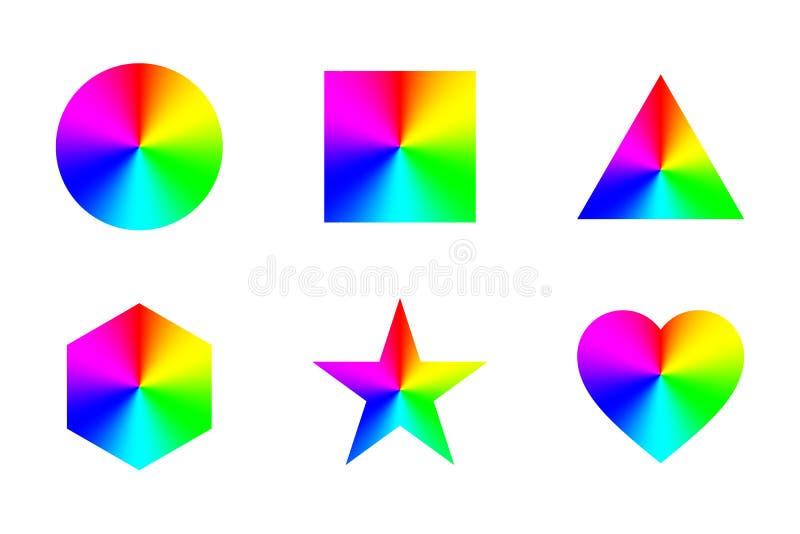 Geometriska former med konisk regnbågelutning, på vit bakgrund vektor stock illustrationer