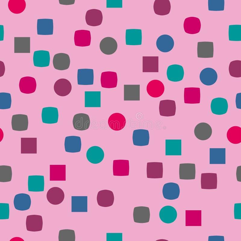 Geometriska former som sömlös modell med rosa bakgrund royaltyfri fotografi