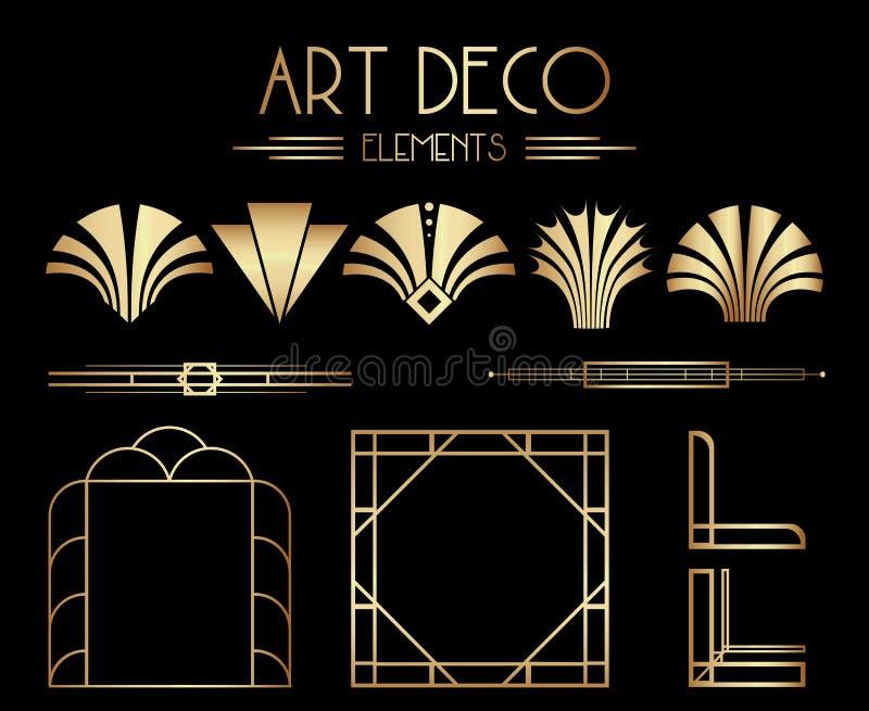 Geometriska Gatsby Art Deco Ornaments, avdelare och rambeståndsdelar vektor illustrationer