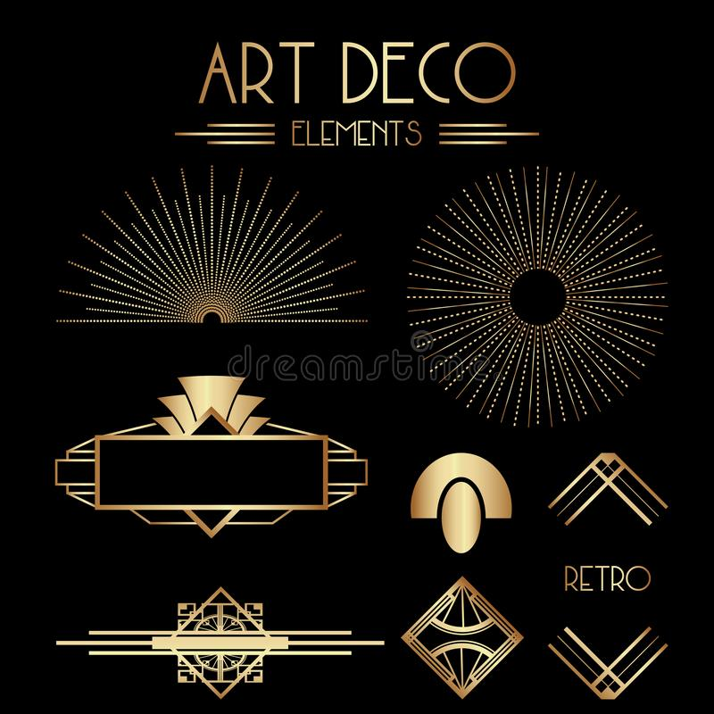 Geometriska Gatsby Art Deco Ornaments och dekorativa beståndsdelar stock illustrationer