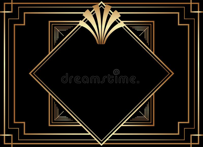 Geometriska Gatsby Art Deco Style Frame Design stock illustrationer