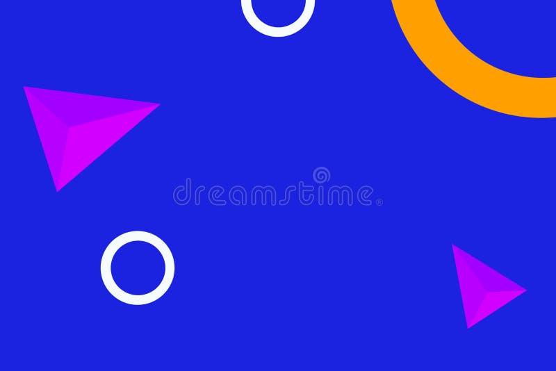 Geometriska kulöra diagram spridda på måfå mot fast blå bakgrund Idérik bakgrundidé för textilen, omslag stock illustrationer