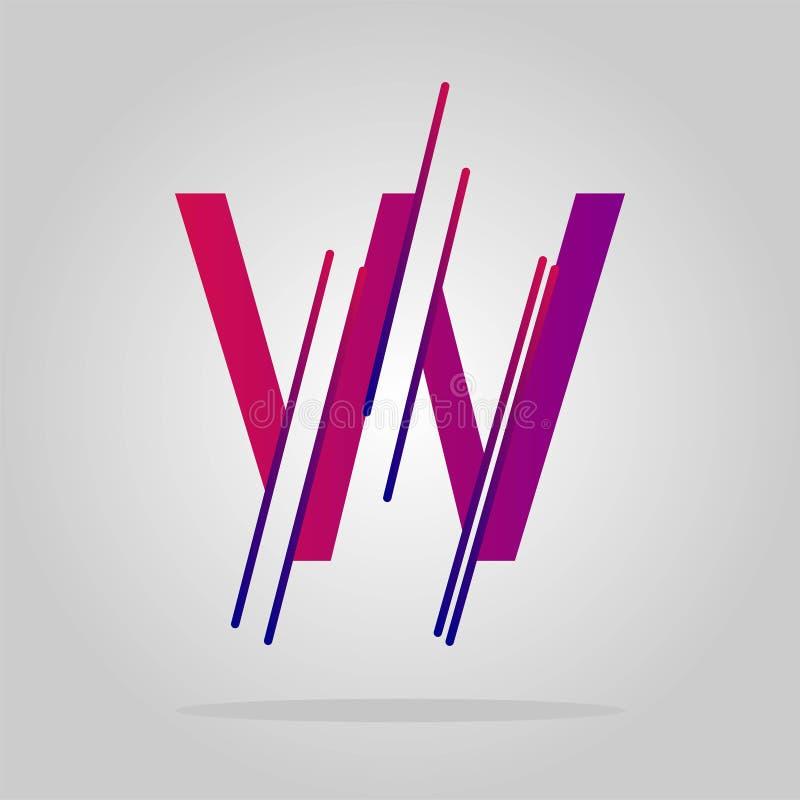 Geometriska linjer för logobokstavsw abstrakt logovektor vektor illustrationer
