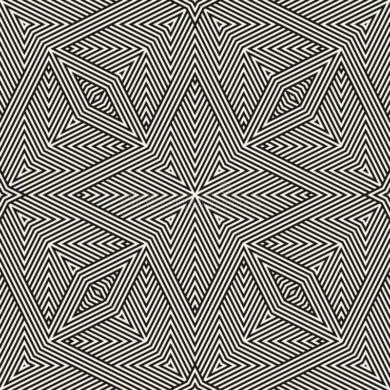 Geometriska linjer sömlös modell Abstrakt svartvit bakgrund för vektor royaltyfri illustrationer