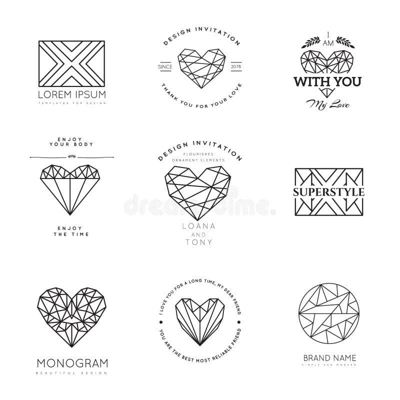 Geometriska logoer för vektor vektor illustrationer