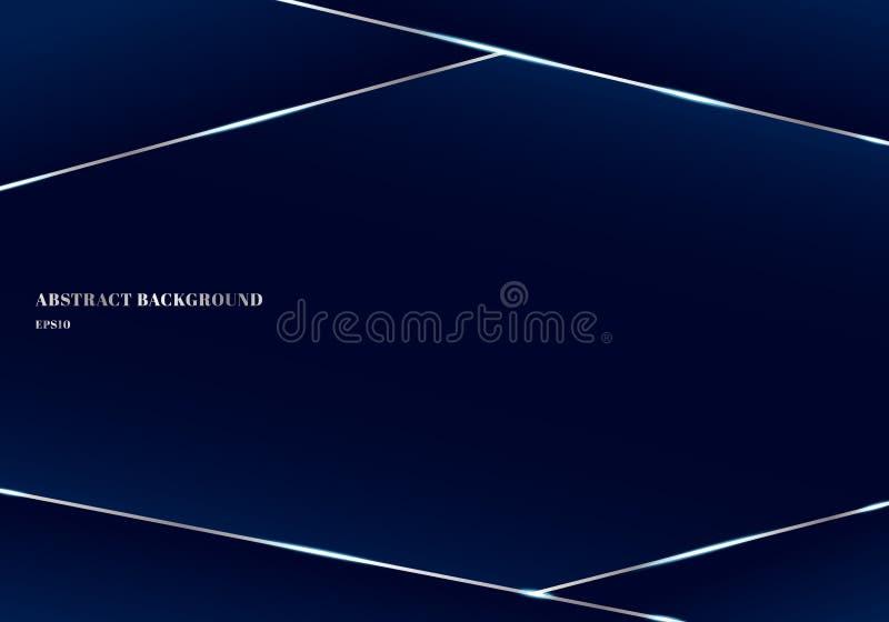 Geometriska mörka triangel- och silverlinjer för abstrakt mall - blå högvärdig bakgrund Låga poly former och lyxig stil Du kan an royaltyfri illustrationer