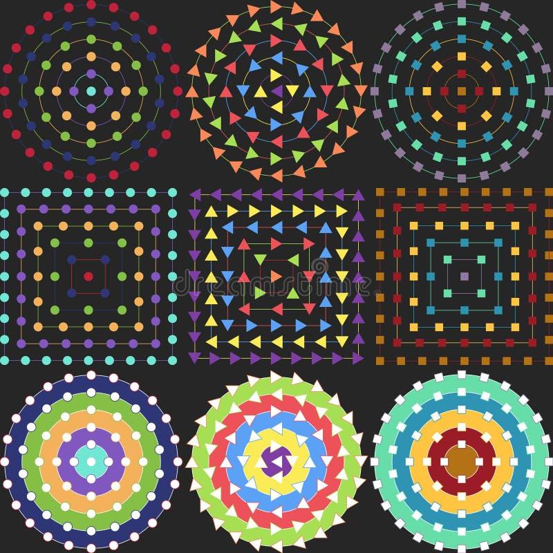 Geometriska modeller på en svart bakgrund royaltyfri illustrationer
