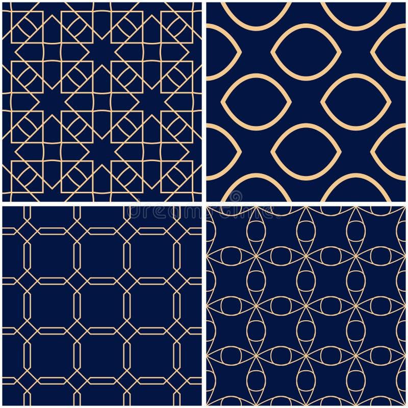 geometriska modeller Uppsättning av guld- blåa sömlösa bakgrunder stock illustrationer