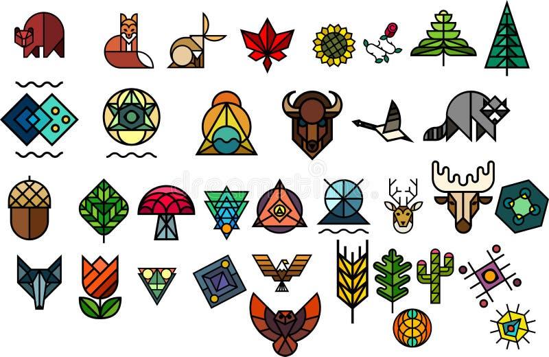 Geometriska mosaik, djur och blommor för vektor på vit bakgrund vektor illustrationer