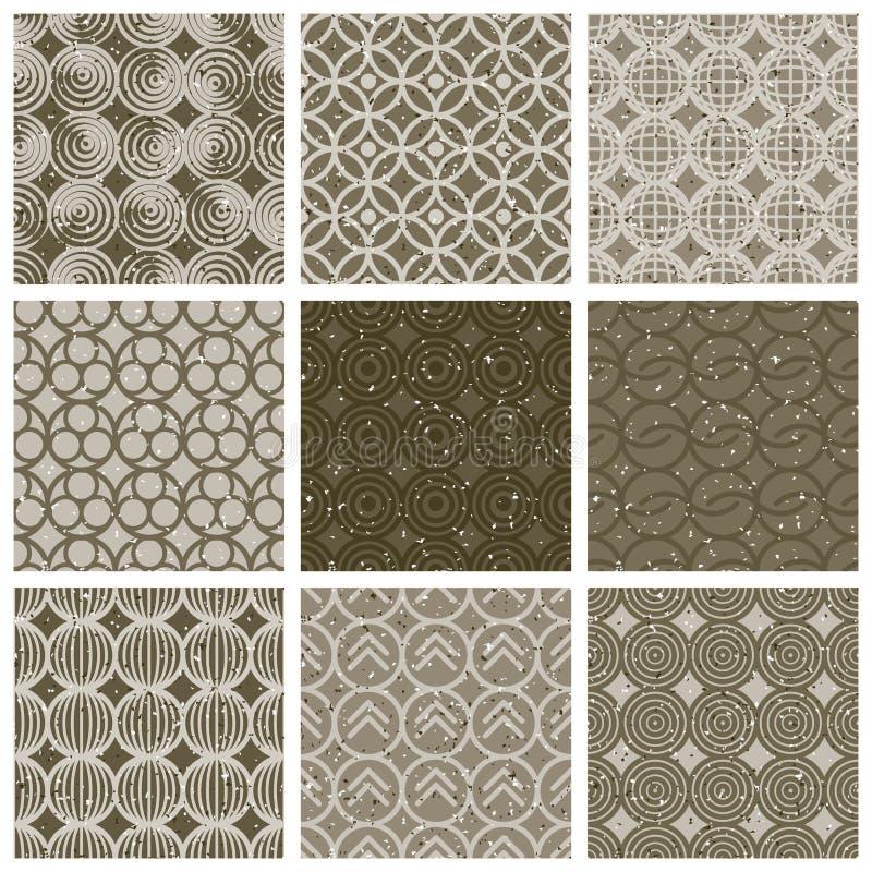 Geometriska och monokromma sömlösa tappningtegelplattor ställde in med åldrig te royaltyfri illustrationer