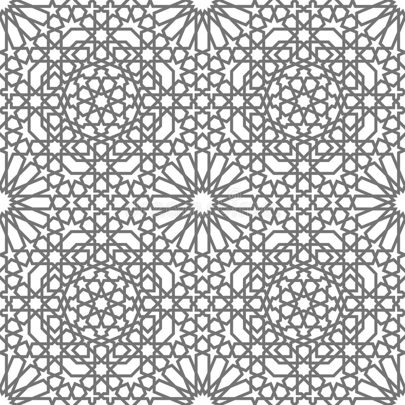 Geometriska prydnader för islamisk vektor som baseras på traditionell arabisk konst Orientalisk Seamless modell Turk arabisk tege vektor illustrationer