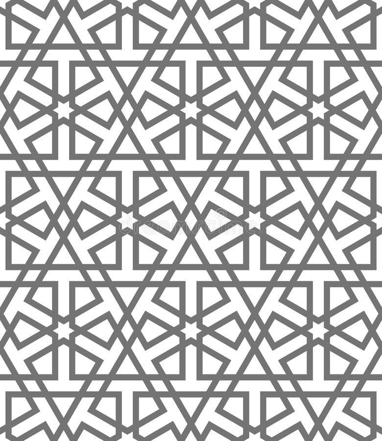 Geometriska prydnader för islamisk vektor, traditionell arabisk konst Orientalisk Seamless modell Turk arab, marockansk tegelplat vektor illustrationer
