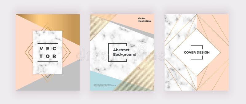 Geometriska räkningar planlägger med rosa, guld-, och gråa trianglar, marmorerar textur, guld- linjer Modern mall för broschyr, å stock illustrationer
