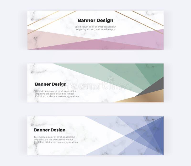 Geometriska rengöringsdukbaner med rosa, blått och trianglar och guld- linjer på marmortexturen Moderna mallar för inbjudan, logo stock illustrationer
