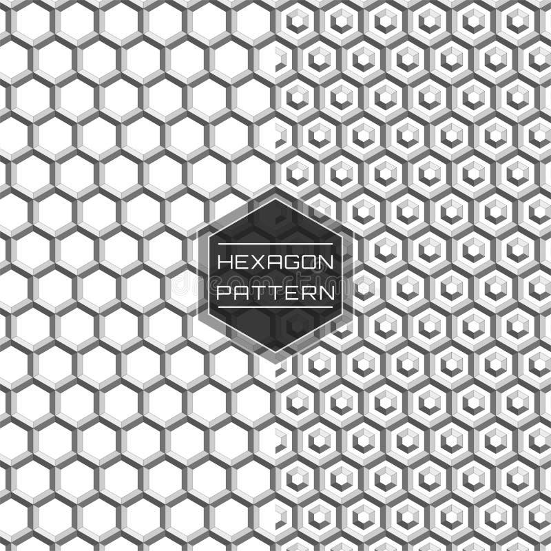 Geometriska sömlösa 3D förtjänar sexhörningsmodellbakgrund vektor illustrationer