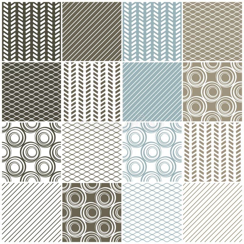 Geometriska sömlösa modeller: swaves cirklar, fodrar royaltyfri illustrationer