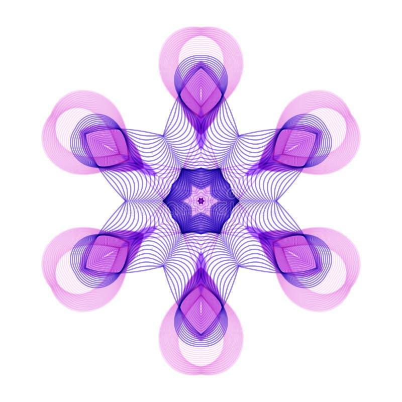 Geometriska stiliserade sexhörniga Violet Flower på vit bakgrund stock illustrationer
