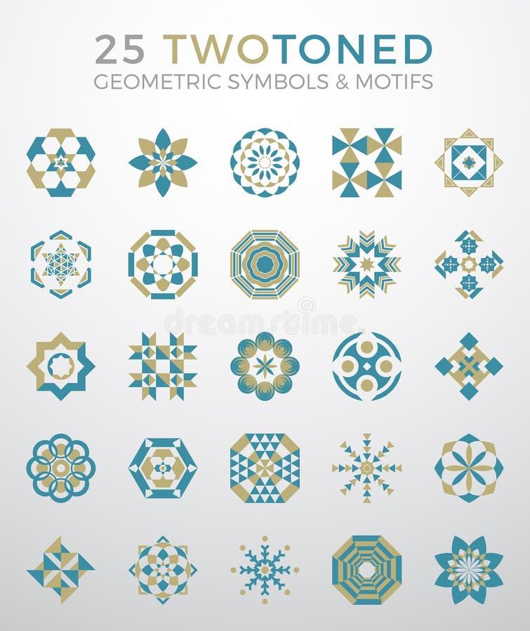 25 geometriska symboler & motivuppsättning royaltyfri illustrationer