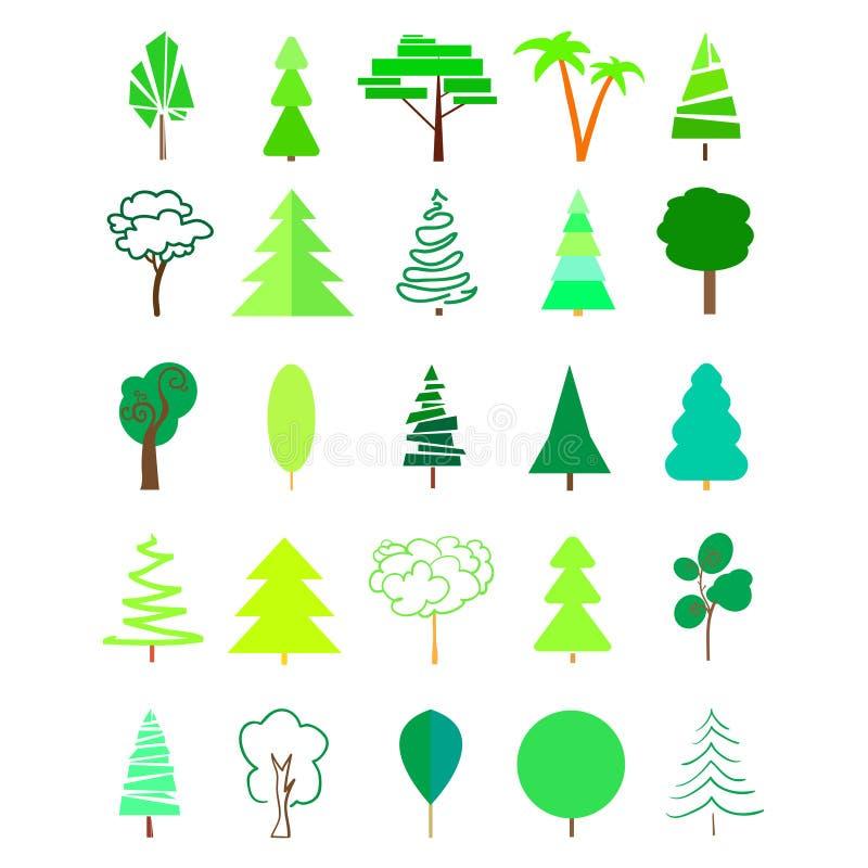geometriska trees stock illustrationer