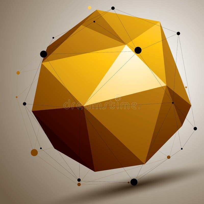 Geometriskt abstrakt begrepp 3D försvårade gallerobjekt, ljus asymmet stock illustrationer