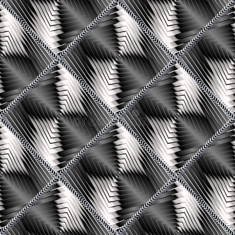 Geometriskt abstrakt begrepp texturerad sömlös modell 3d svart white stock illustrationer