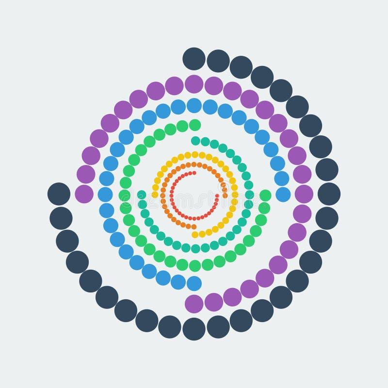 geometriskt abstrakt diagram Färgrika prickar i cirkel också vektor för coreldrawillustration royaltyfri illustrationer