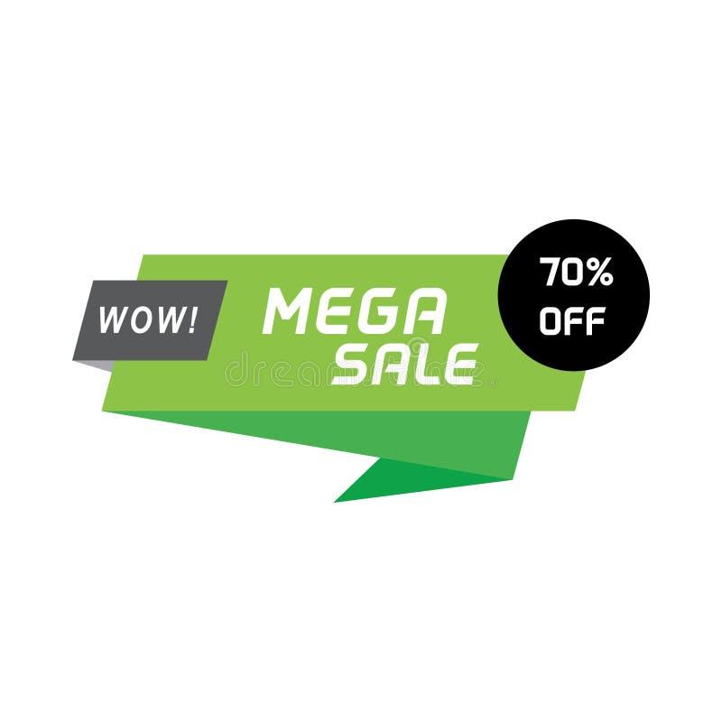 Geometriskt baner för mega försäljning Sale banerbeståndsdel för rengöringsduken eller tryckbanret, reklamblad, broschyr vektor illustrationer